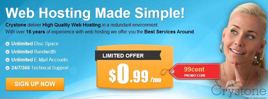 $0.99 month Crystone Hosting Deal