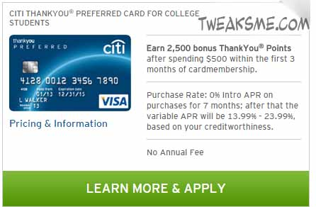 CITIBank Thyankyou Students Credit card