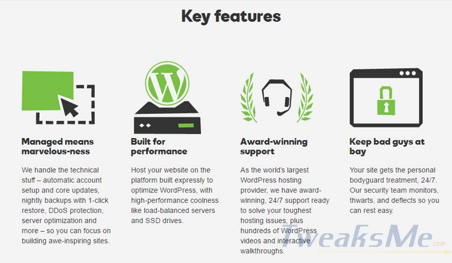 Godaddy WordPress Hosting featurs